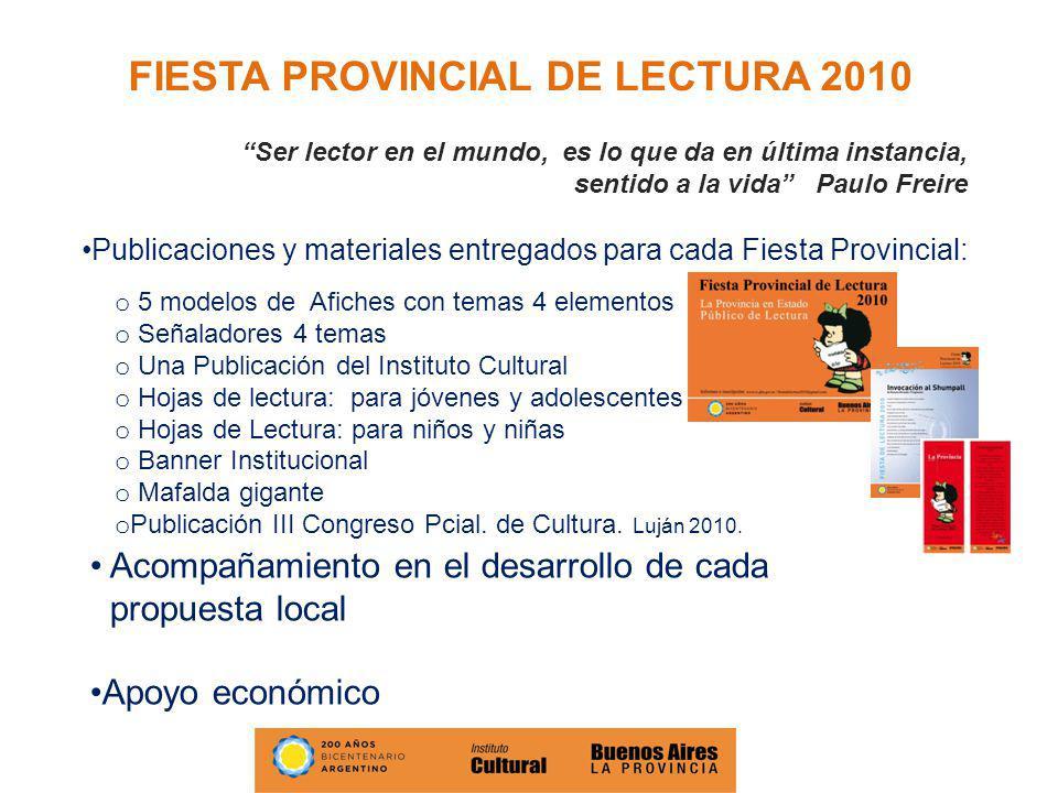 FIESTA PROVINCIAL DE LECTURA 2010 Ser lector en el mundo, es lo que da en última instancia, sentido a la vida Paulo Freire Publicaciones y materiales