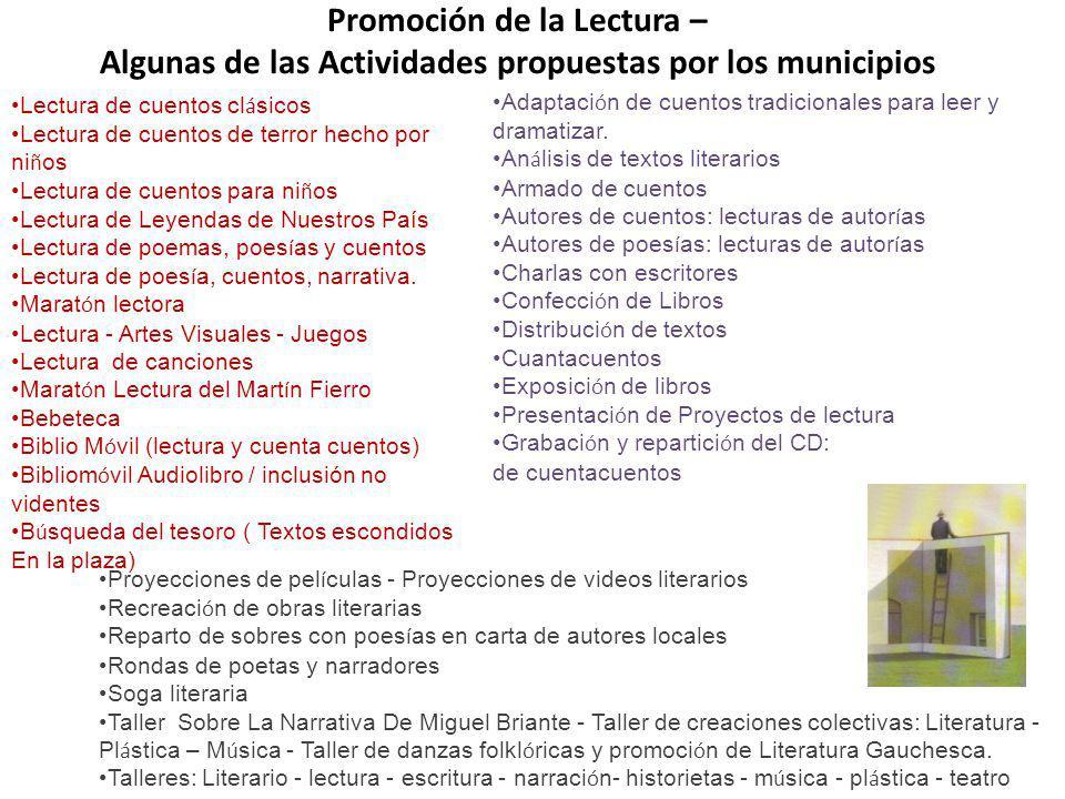 Promoción de la Lectura – Algunas de las Actividades propuestas por los municipios Lectura de cuentos cl á sicos Lectura de cuentos de terror hecho po