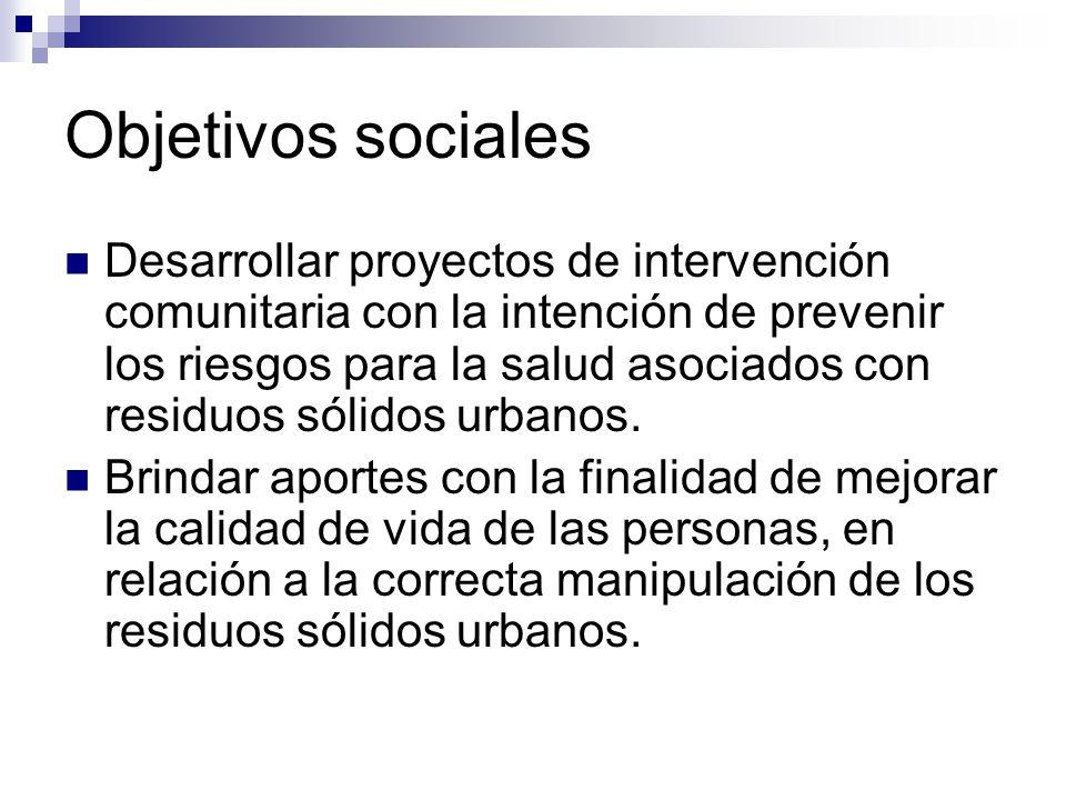 Objetivos sociales Desarrollar proyectos de intervención comunitaria con la intención de prevenir los riesgos para la salud asociados con residuos sólidos urbanos.
