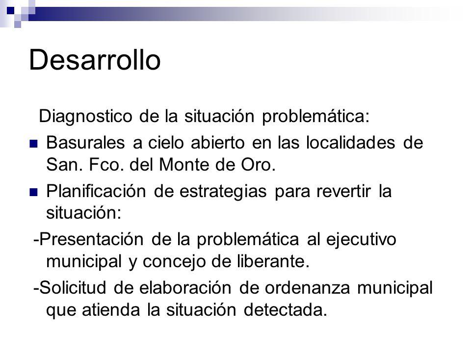 Desarrollo Diagnostico de la situación problemática: Basurales a cielo abierto en las localidades de San. Fco. del Monte de Oro. Planificación de estr