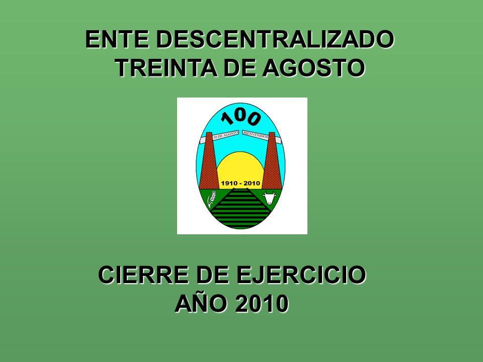 CIERRE DE EJERCICIO AÑO 2010 ENTE DESCENTRALIZADO TREINTA DE AGOSTO