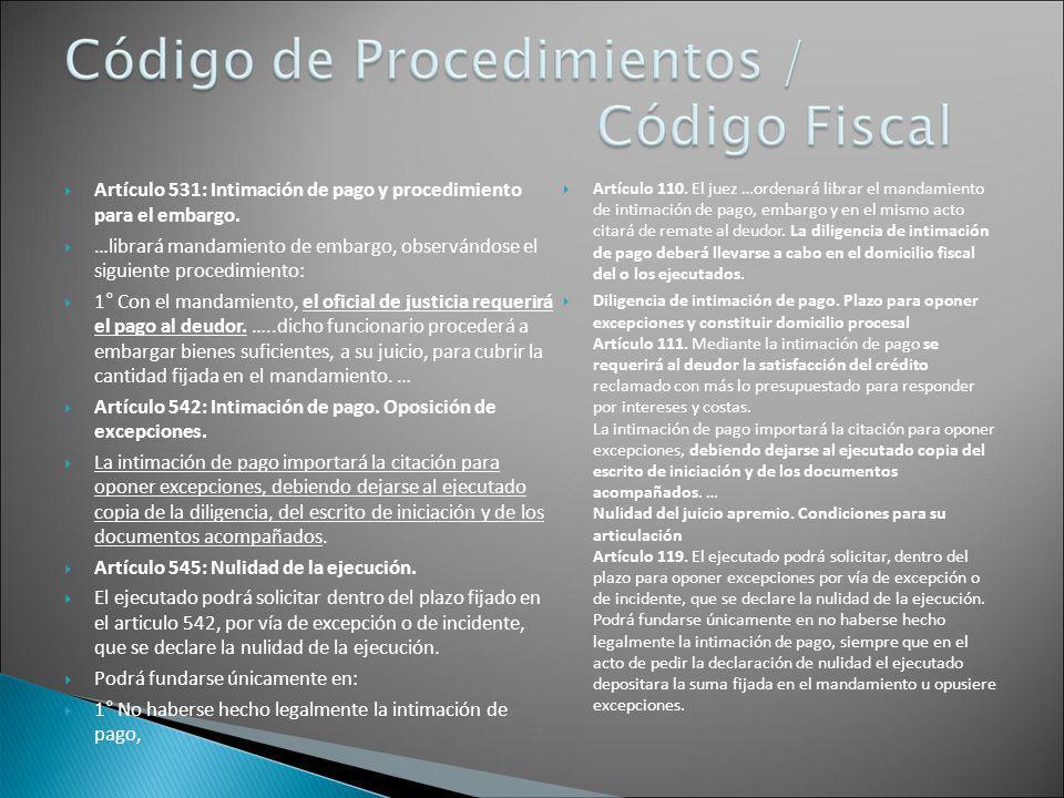Artículo 531: Intimación de pago y procedimiento para el embargo.