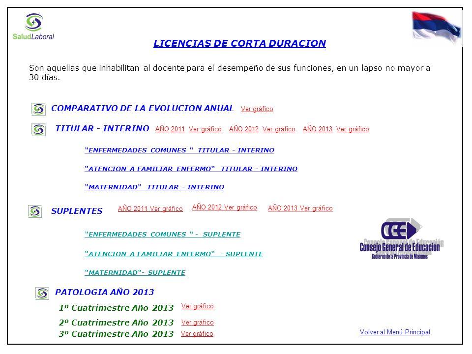 COMPARATIVO DEL TOTAL DE LICENCIAS MEDICAS EN CORTA Y LARGA DURACIÓN DOCENTES AÑO 2012AÑO 2013AÑO 2011 Volver al Menú Principal