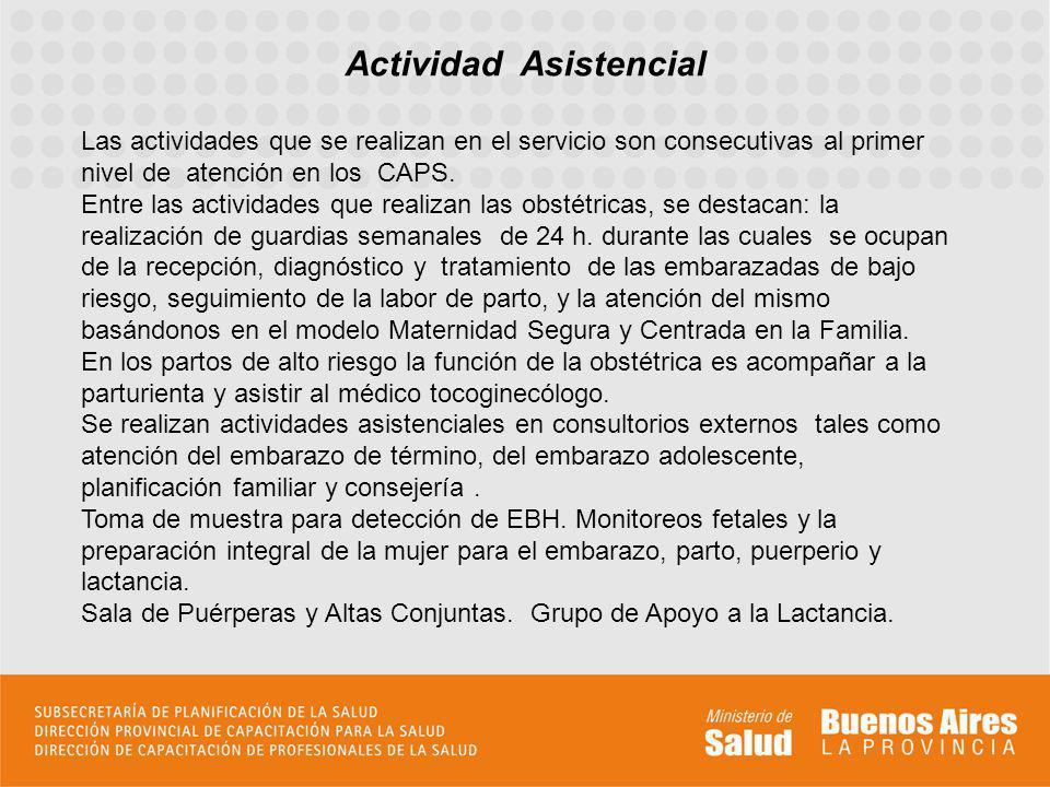 Actividad Asistencial Las actividades que se realizan en el servicio son consecutivas al primer nivel de atención en los CAPS. Entre las actividades q