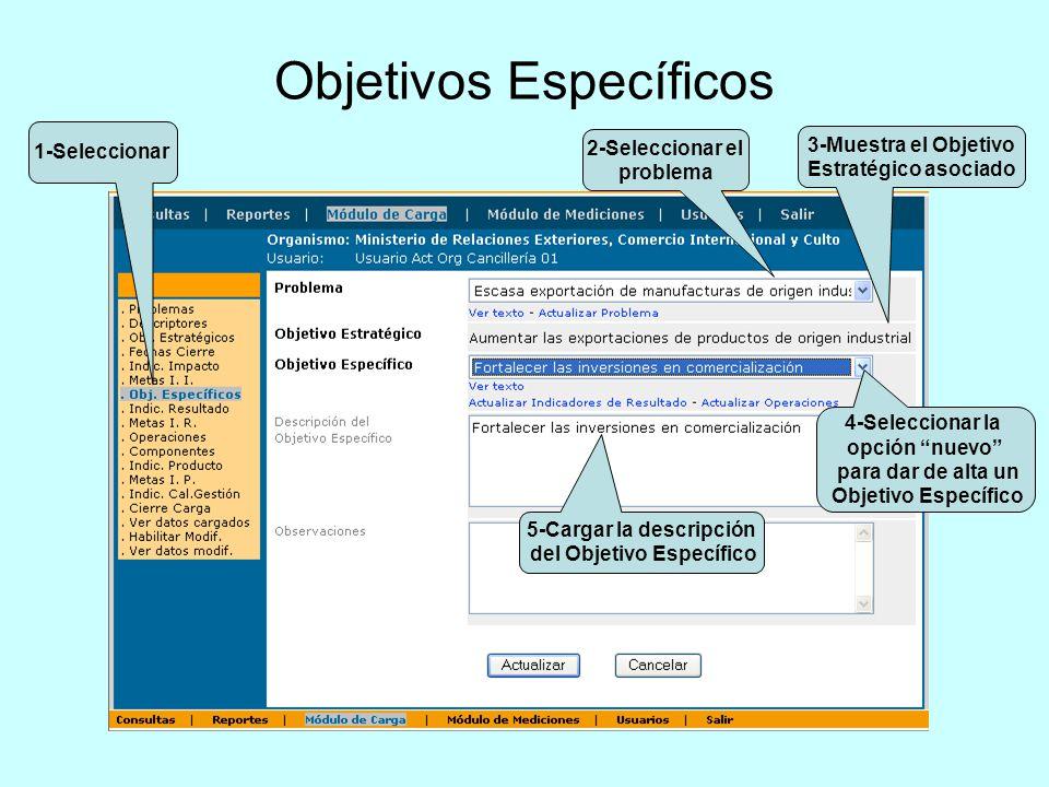 Objetivos Específicos 1-Seleccionar 2-Seleccionar el problema 4-Seleccionar la opción nuevo para dar de alta un Objetivo Específico 3-Muestra el Objet