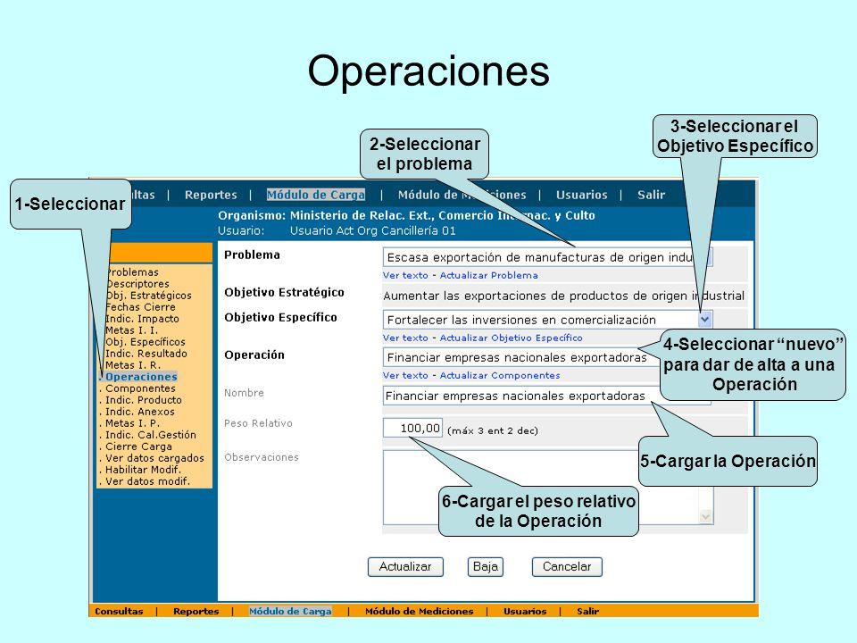 Operaciones 1-Seleccionar 2-Seleccionar el problema 3-Seleccionar el Objetivo Específico 4-Seleccionar nuevo para dar de alta a una Operación 5-Cargar