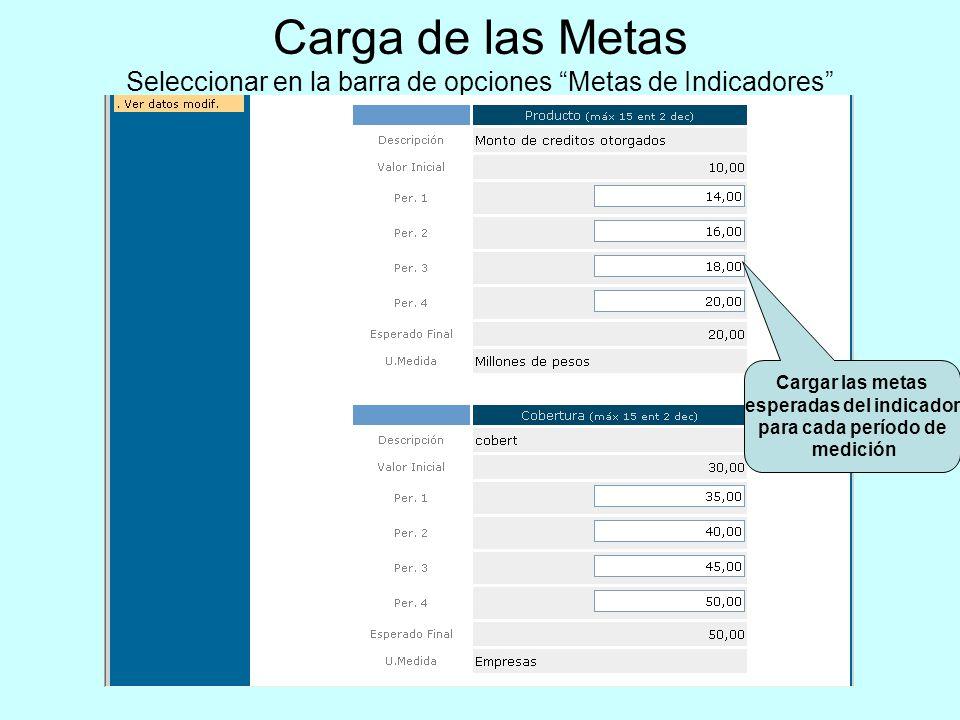Carga de las Metas Seleccionar en la barra de opciones Metas de Indicadores Cargar las metas esperadas del indicador para cada período de medición