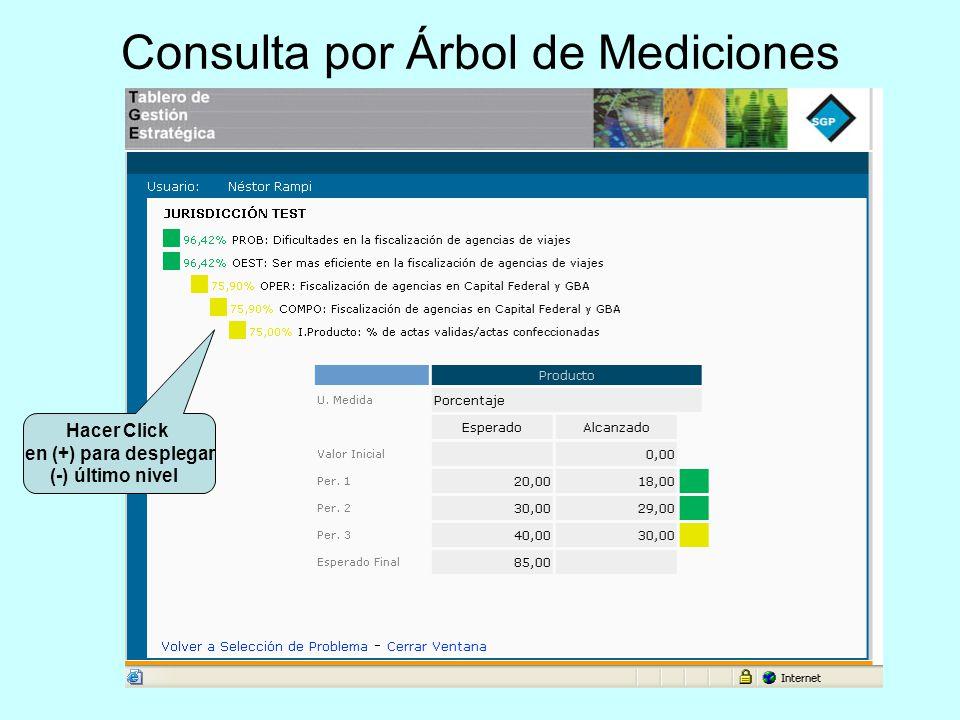 Consulta por Árbol de Mediciones Hacer Click en (+) para desplegar (-) último nivel