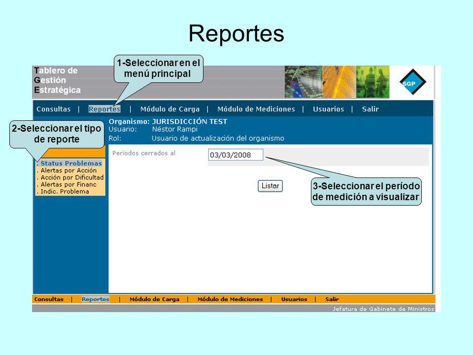 2-Seleccionar el tipo de reporte 3-Seleccionar el período de medición a visualizar 1-Seleccionar en el menú principal