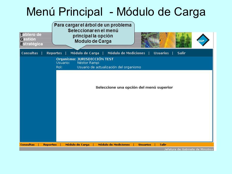 Menú Principal - Módulo de Carga Para cargar el árbol de un problema Seleccionar en el menú principal la opción Modulo de Carga
