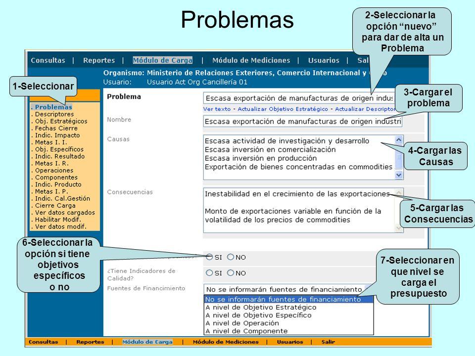 Problemas 6-Seleccionar la opción si tiene objetivos específicos o no 7-Seleccionar en que nivel se carga el presupuesto 1-Seleccionar 3-Cargar el pro