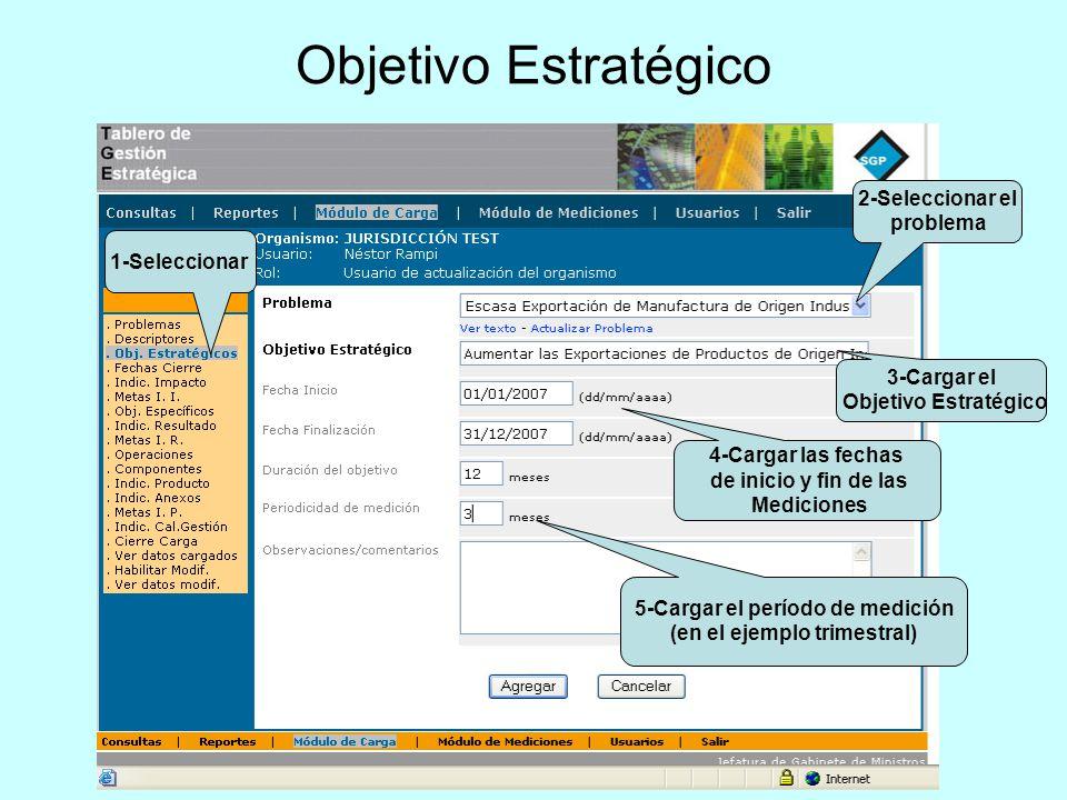 Objetivo Estratégico 2-Seleccionar el problema 3-Cargar el Objetivo Estratégico 1-Seleccionar 4-Cargar las fechas de inicio y fin de las Mediciones 5-