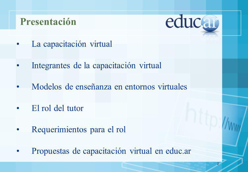 2 Presentación La capacitación virtual Integrantes de la capacitación virtual Modelos de enseñanza en entornos virtuales El rol del tutor Requerimientos para el rol Propuestas de capacitación virtual en educ.ar