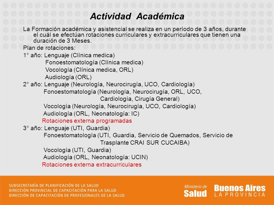 Actividad Académica La Formación académica y asistencial se realiza en un período de 3 años, durante el cuál se efectúan rotaciones curriculares y extracurriculares que tienen una duración de 3 Meses.