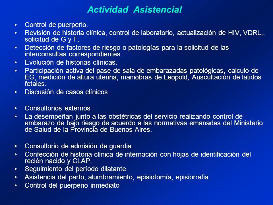 Control de puerperio. Revisión de historia clínica, control de laboratorio, actualización de HIV, VDRL,. solicitud de G y F. Detección de factores de