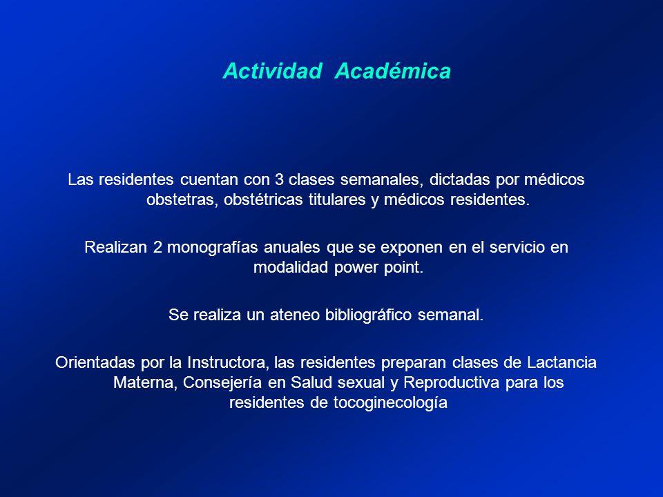 Actividad Académica Las residentes cuentan con 3 clases semanales, dictadas por médicos obstetras, obstétricas titulares y médicos residentes. Realiza