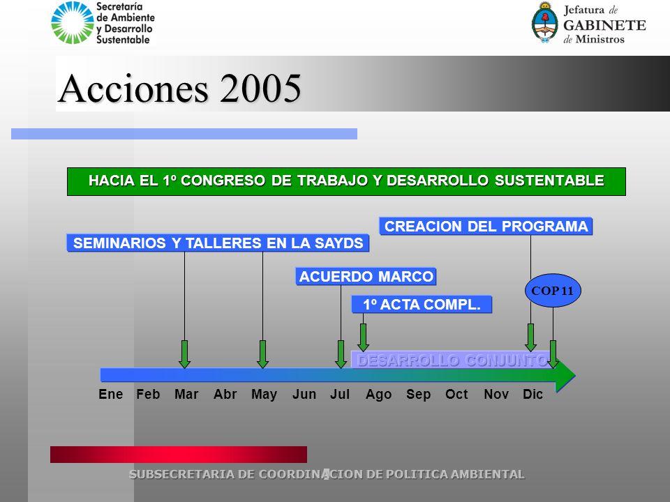Acciones 2005 EneFebMarAbrMayJunJulSepOctNovDic SEMINARIOS Y TALLERES EN LA SAYDS ACUERDO MARCO Ago HACIA EL 1º CONGRESO DE TRABAJO Y DESARROLLO SUSTENTABLE COP 11 CREACION DEL PROGRAMA 1º ACTA COMPL.
