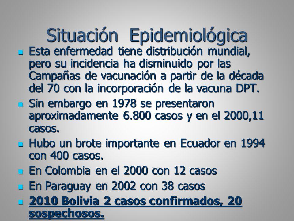 Situación Epidemiológica Esta enfermedad tiene distribución mundial, pero su incidencia ha disminuido por las Campañas de vacunación a partir de la dé