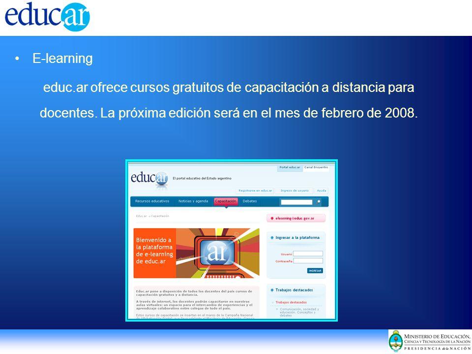 E-learning educ.ar ofrece cursos gratuitos de capacitación a distancia para docentes.