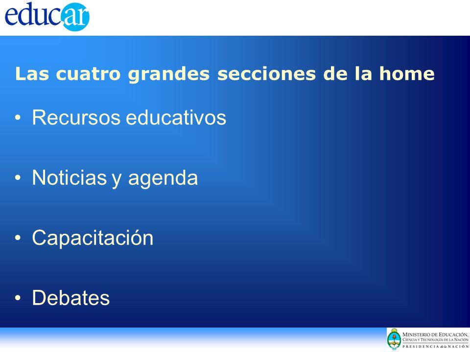 Las cuatro grandes secciones de la home Recursos educativos Noticias y agenda Capacitación Debates