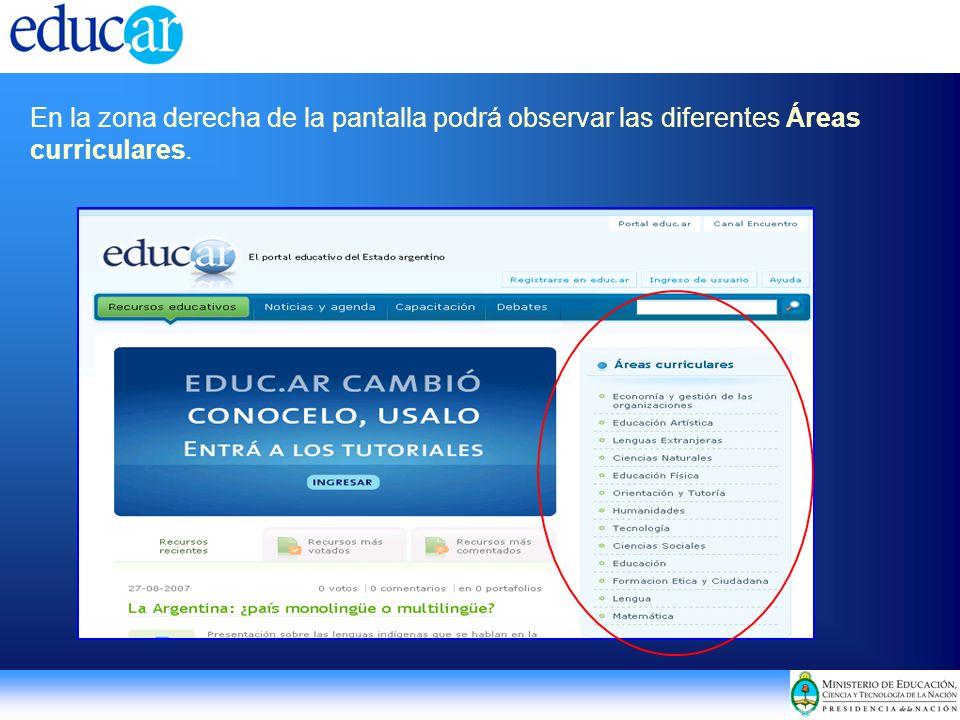 En la zona derecha de la pantalla podrá observar las diferentes Áreas curriculares.