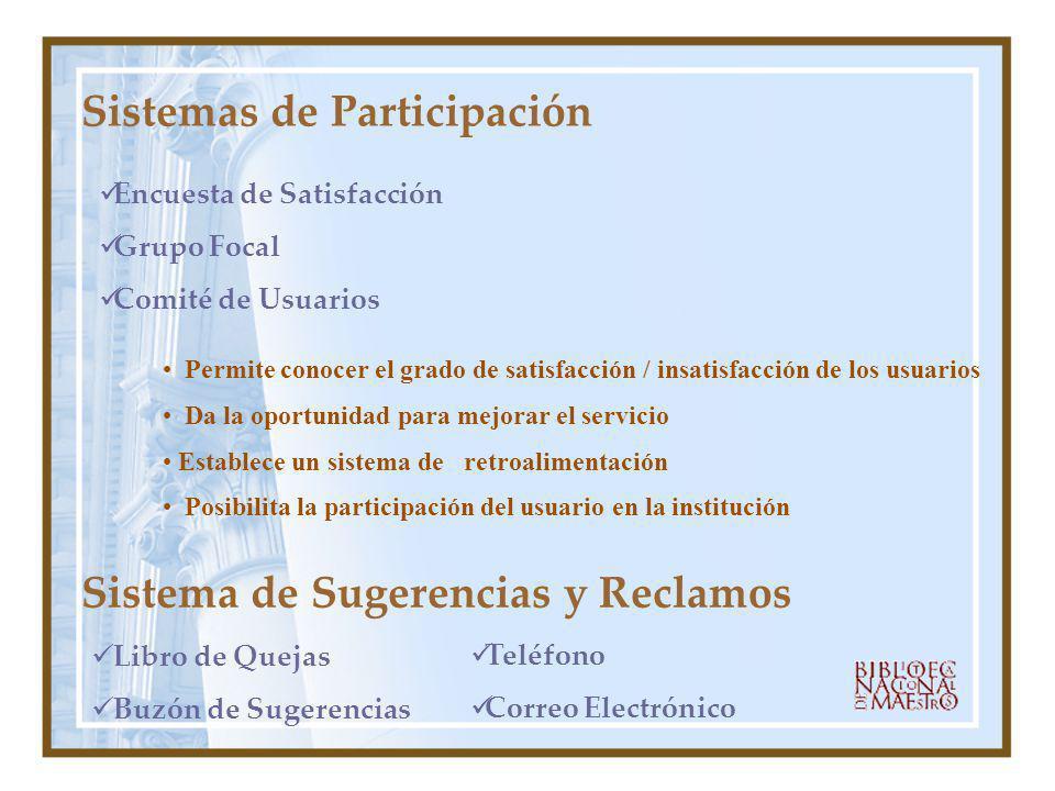 Sistemas de Participación Permite conocer el grado de satisfacción / insatisfacción de los usuarios Da la oportunidad para mejorar el servicio Estable