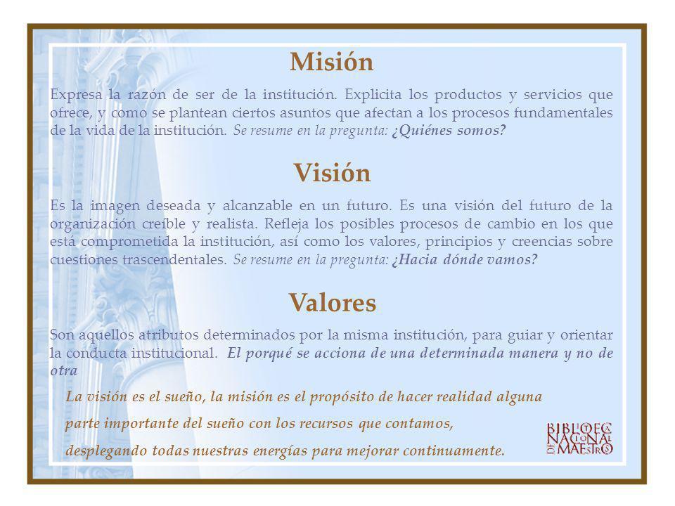 Misión Expresa la razón de ser de la institución. Explicita los productos y servicios que ofrece, y como se plantean ciertos asuntos que afectan a los
