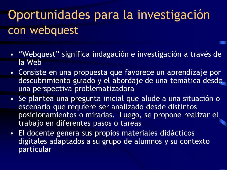 Oportunidades para la investigación con webquest Webquest significa indagación e investigación a través de la Web Consiste en una propuesta que favore