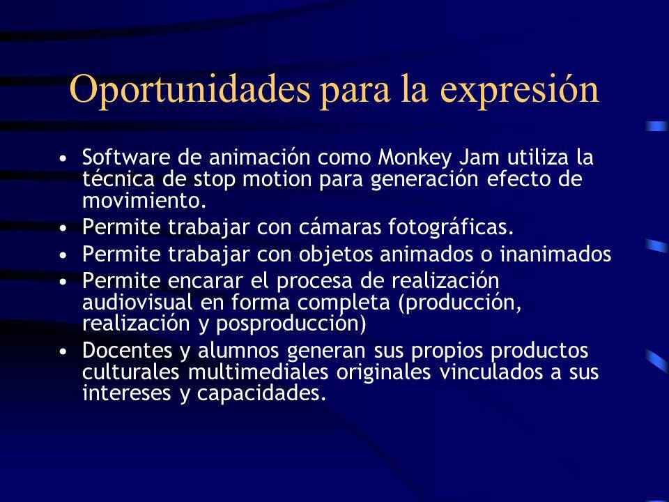 Oportunidades para la expresión Software de animación como Monkey Jam utiliza la técnica de stop motion para generación efecto de movimiento. Permite