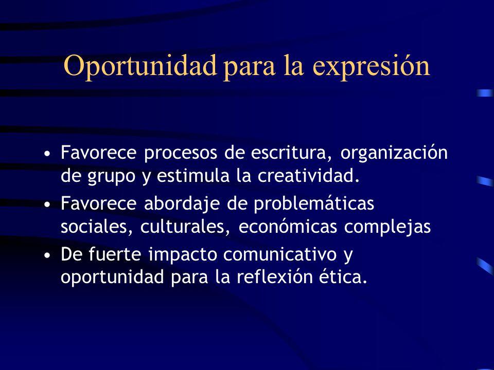 Oportunidad para la expresión Favorece procesos de escritura, organización de grupo y estimula la creatividad. Favorece abordaje de problemáticas soci