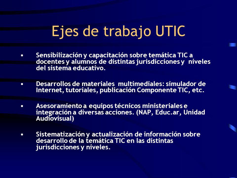 Ejes de trabajo UTIC Sensibilización y capacitación sobre temática TIC a docentes y alumnos de distintas jurisdicciones y niveles del sistema educativ