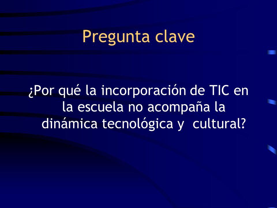 Pregunta clave ¿Por qué la incorporación de TIC en la escuela no acompaña la dinámica tecnológica y cultural?