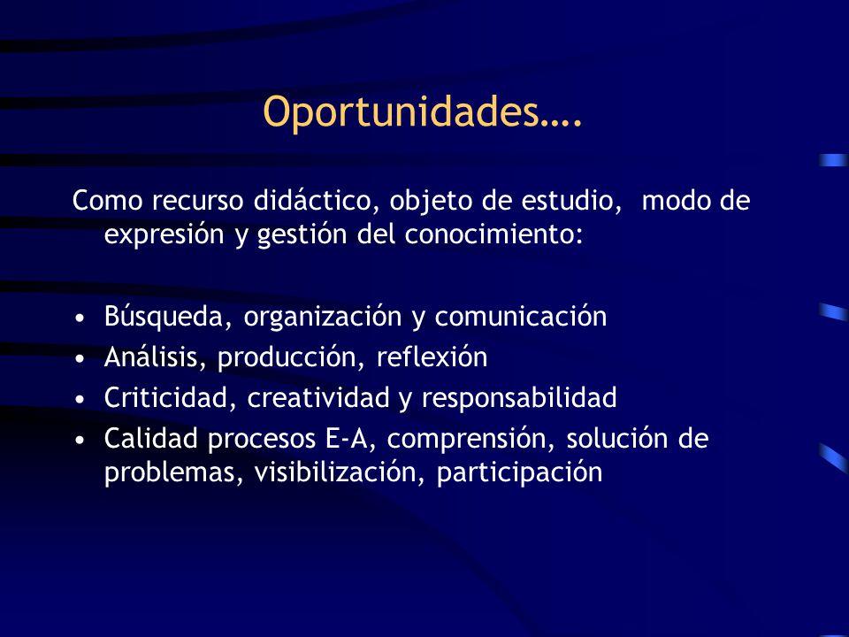 Oportunidades…. Como recurso didáctico, objeto de estudio, modo de expresión y gestión del conocimiento: Búsqueda, organización y comunicación Análisi