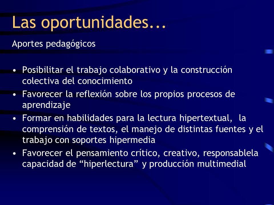 Las oportunidades... Aportes pedagógicos Posibilitar el trabajo colaborativo y la construcción colectiva del conocimiento Favorecer la reflexión sobre