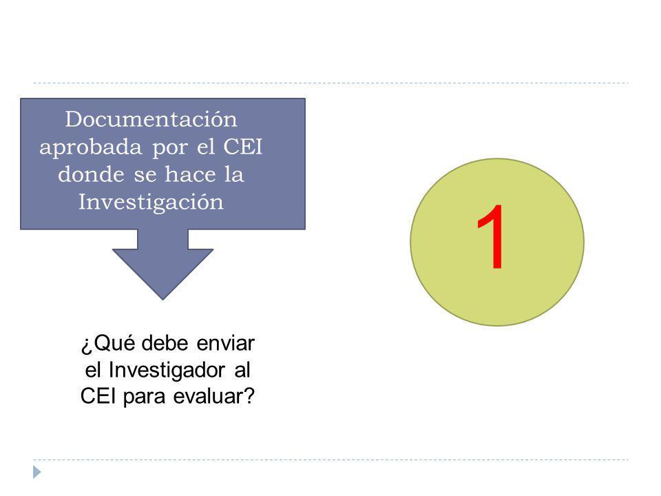 1 ¿Qué debe enviar el Investigador al CEI para evaluar? Documentación aprobada por el CEI donde se hace la Investigación