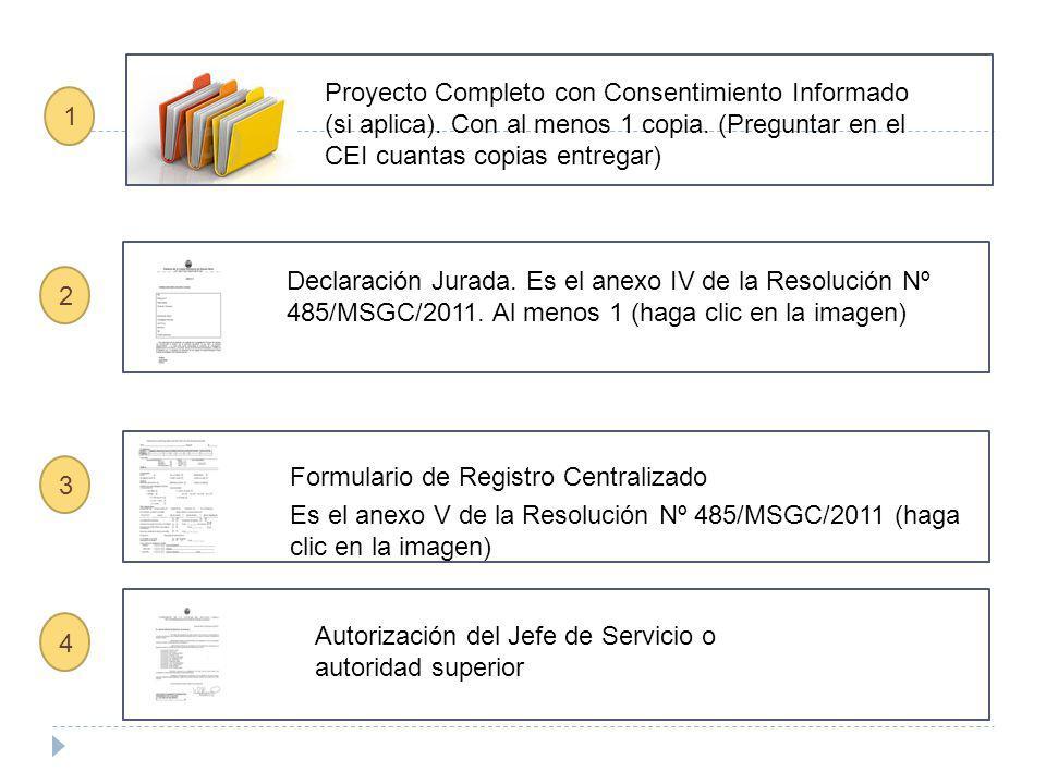 Proyecto Completo con Consentimiento Informado (si aplica). Con al menos 1 copia. (Preguntar en el CEI cuantas copias entregar) 1 2 3 Formulario de Re