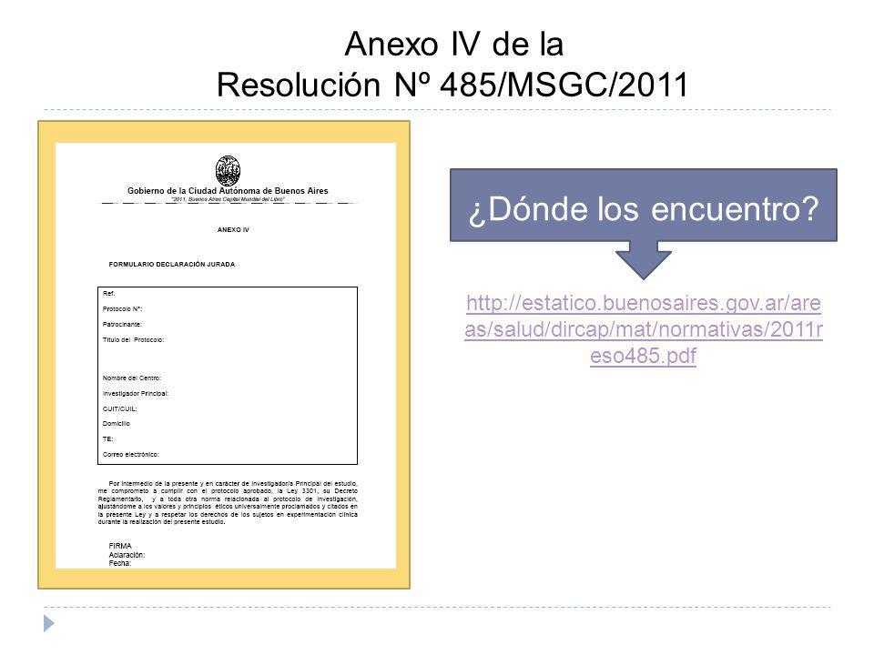 Anexo IV de la Resolución Nº 485/MSGC/2011 ¿Dónde los encuentro? http://estatico.buenosaires.gov.ar/are as/salud/dircap/mat/normativas/2011r eso485.pd