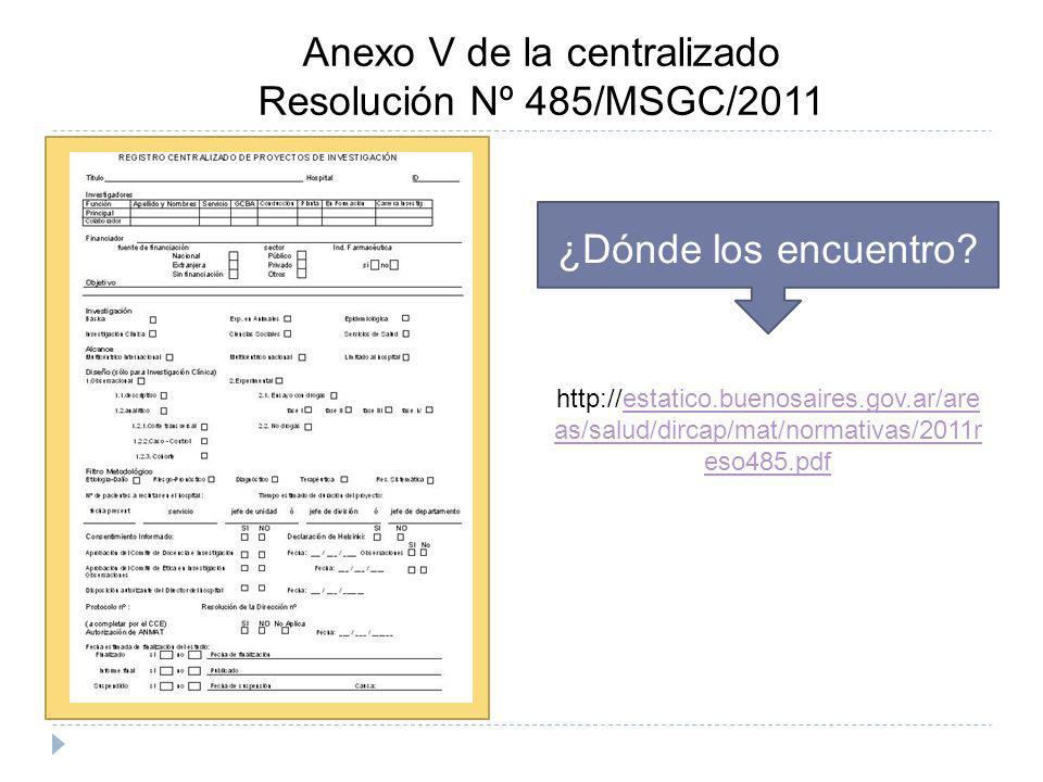 Anexo V de la centralizado Resolución Nº 485/MSGC/2011 ¿Dónde los encuentro? http://estatico.buenosaires.gov.ar/are as/salud/dircap/mat/normativas/201