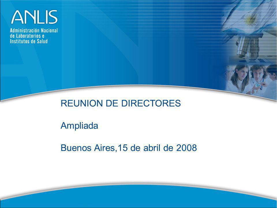 12 AVANCES DE LA GESTION INSTITUCIONAL 2008 Presentación de actividades de apoyo ANLIS – Institutos.