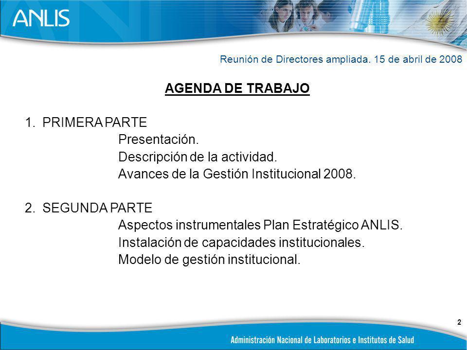 3 REUNION DE DIRECTORES PRIMERA PARTE EL PRIMER CUATRIMESTRE DE 2008 Y LA CONTINUIDAD DE LOS PROYECTOS INSTITUCIONALES Buenos Aires,15 de abril de 2008