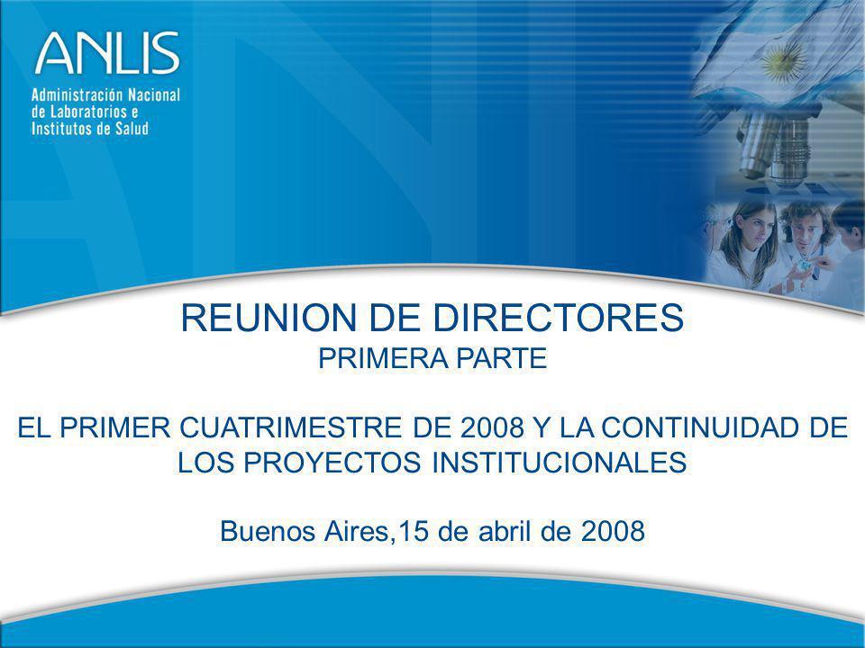 4 EL PRIMER CUATRIMESTRE DE 2008 Y LA CONTINUIDAD DE LOS PROYECTOS INSTITUCIONALES 1.Presentación.
