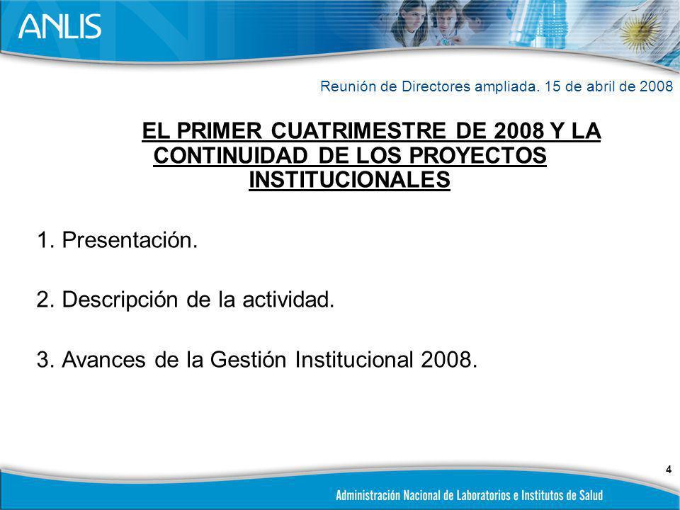 25 AVANCES DE LA GESTION INSTITUCIONAL 2008 Formulación presupuesto institucional.