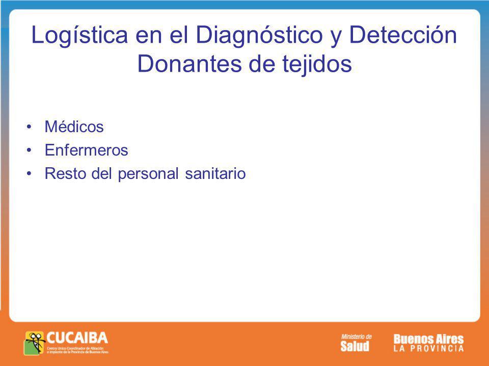 Logística en el Diagnóstico y Detección Donantes de tejidos Médicos Enfermeros Resto del personal sanitario