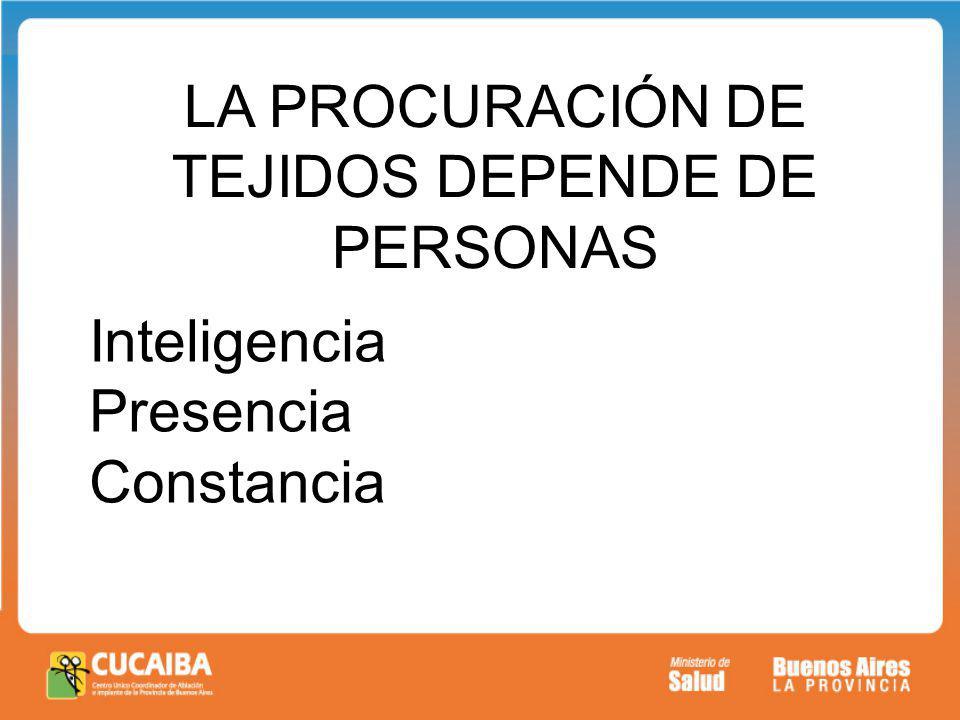 LA PROCURACIÓN DE TEJIDOS DEPENDE DE PERSONAS Inteligencia Presencia Constancia
