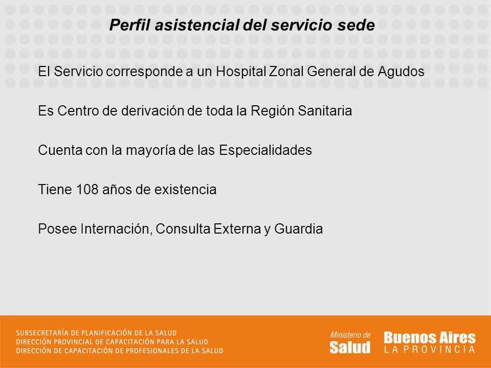 Perfil asistencial del servicio sede El Servicio corresponde a un Hospital Zonal General de Agudos Es Centro de derivación de toda la Región Sanitaria