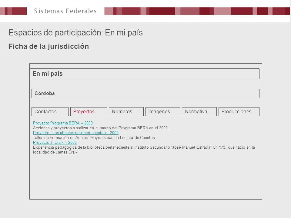 Espacios de participación: En mi país Ficha de la jurisdicción En mi país Córdoba ContactosProyectosNúmerosImágenesNormativaProducciones Proyecto Prog