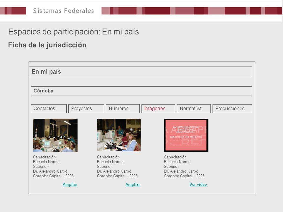Espacios de participación: En mi país Ficha de la jurisdicción En mi país Córdoba ContactosProyectosNúmerosImágenesNormativaProducciones Capacitación Escuela Normal Superior Dr.