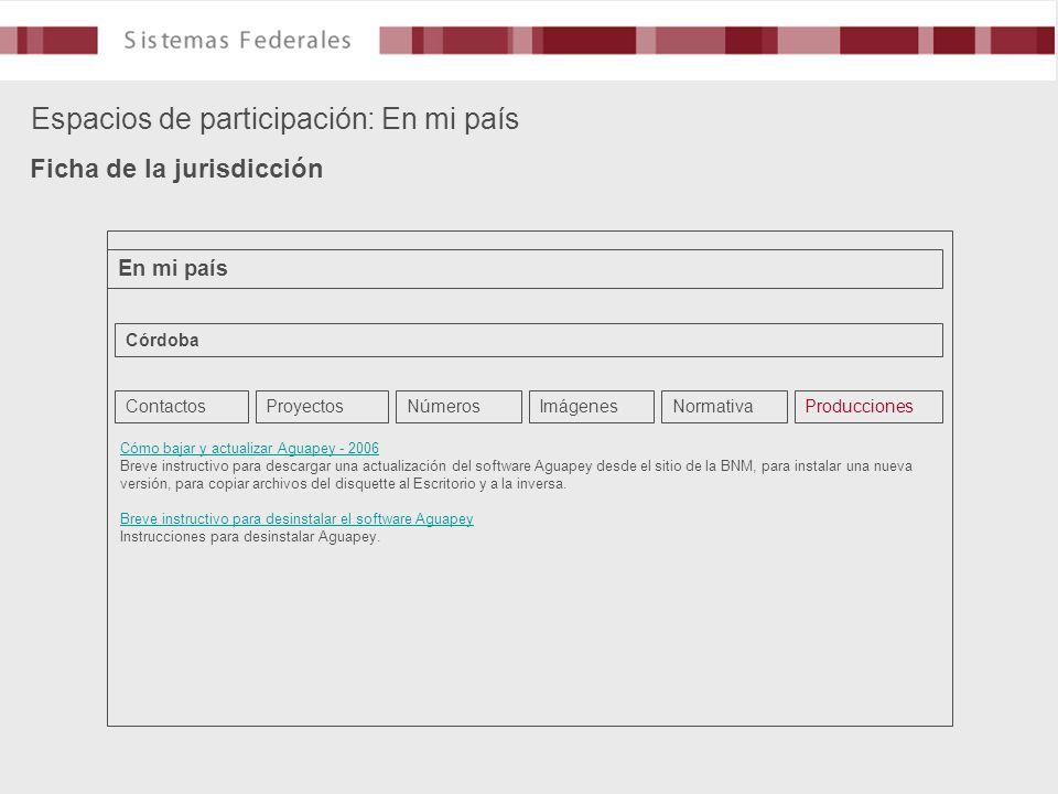 Espacios de participación: En mi país Ficha de la jurisdicción En mi país Córdoba ContactosProyectosNúmerosImágenesNormativaProducciones Cómo bajar y