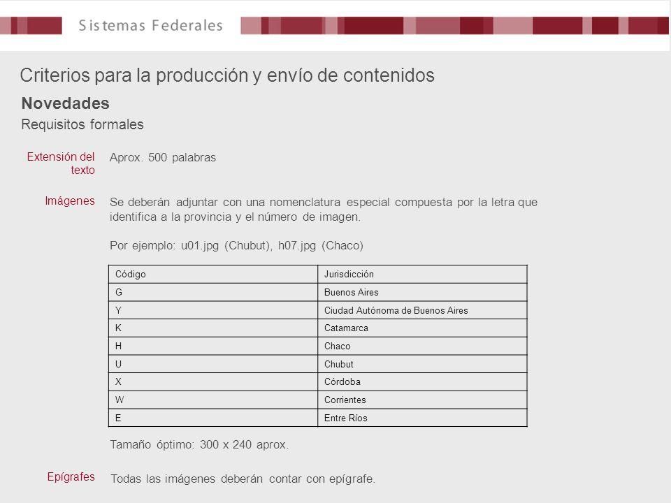 Requisitos formales Criterios para la producción y envío de contenidos Novedades Aprox. 500 palabras Extensión del texto Imágenes Se deberán adjuntar