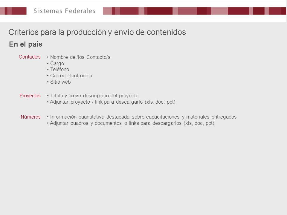 Criterios para la producción y envío de contenidos En el país Nombre del/los Contacto/s Cargo Teléfono Correo electrónico Sitio web Contactos Título y